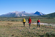 Alaska. Gates of the Arctic NP. Hikers enjoy a rare sunny day in the arctic west of Lake Matcharak, August.