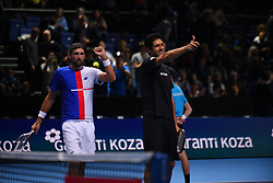 November 15, 2017 - London, England, United Kingdom - Lukasz Kubot of Poland and Marcelo Melo of Brazil victory in their doubles match against Mike and Bob Bryan of the USA on day four of the Nitto ATP World Tour Finals at O2 Arena on November 15, 2017. (Credit Image: © Alberto Pezzali/NurPhoto via ZUMA Press)