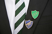An environmental prefect and head boy shows his badges at Ringmer College in East Sussex.