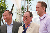 Producer Jonas Rivera, John Lasseter and Director Pete Docter at the Inside Out film photo call at the 68th Cannes Film Festival Monday May 18th 2015, Cannes, France.