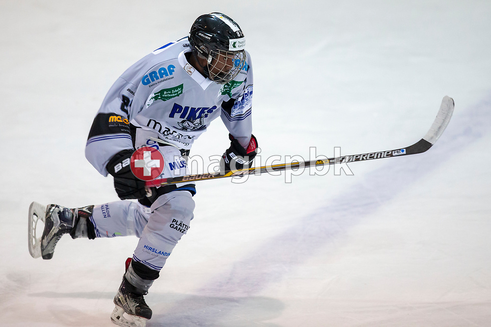 PIKES EHC Oberthurgau forward Glody Bonga-Bonga is pictured during a Swiss 1st League ice hockey game (Season 2018/2019) between EHC Wetzikon and PIKES EHC Oberthurgau in Wetzikon, Switzerland, Saturday, Oct. 6, 2018. (Photo by Patrick B. Kraemer / MAGICPBK)