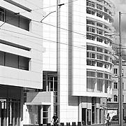 Basel, Switzerland, Basel, 2000: Cylindrical corner  detail, Euregio Office Building at Viaduktstrasse. - Richard Meier Architect. Photographs by Alejandro Sala