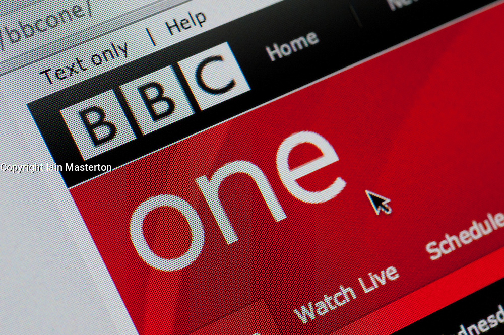 Detail of screenshot from website of BBC One television channel homepage