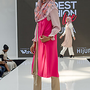 Aidijuma showcases it latest collection Modest and beautiful at the Modest and Beautiful a Modest Fashion Live at The Atrium in Westfield London on June 24, 2018.