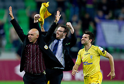 Darko Birjukov, head coach, Matej Orazem and Luka Elsner  of Domzale celebrates after winning the football match between NK Domzale and NK Maribor in final match of Hervis Cup, on May 25, 2011 in SRC Stozice, Ljubljana, Slovenia. Domzale defeated Maribor and became Slovenian Cup Champion 2011. (Photo By Vid Ponikvar / Sportida.com)