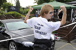 ©  licensed to London News Pictures. 10/06/2011. Cobham, UK. Chesney Hawkes with his Aston Martin getting ready for the The Supercar Challenge. Several cars worth more than £2 million in total left from the picturesque Leather Bottle pub, Cobham, for this third annual event which will see contestants take part in a series of challenges on the 1000 mile four day event. See special instructions for details. Picture credit should read Grant Falvey/LNP