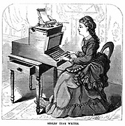 Woman using typewriter by American inventor Christopher Latham Sholes (1819-1890).  Forerunner of 20th century machine, keys had piano action and the carriage moved one space to left for each character struck and keyboard had Qwerty layout.  Sholes sold out to Remington in 1874.  From 'Scientific American' (New York 1872).  Wood engraving.