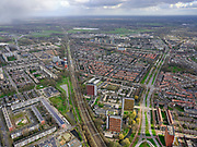 Nederland, Utrecht, Utrecht, 25-02-2020; Noordoost Utrecht, Kardinaal de Jongweg, Tuindorp met station Utrecht Overvecht.<br /> Northeast Utrecht.<br /> luchtfoto (toeslag op standard tarieven);<br /> aerial photo (additional fee required)<br /> copyright © 2020 foto/photo Siebe Swart