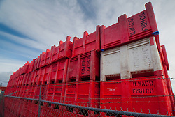 Packing Crates at Jessie's Ilwaco Fish Co., Ilwaco, Washington, US