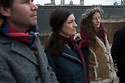 Onlookers peacefully listen and meditate at The Druid Order Spring Equinox ceremony held at Tower Hill Terrace in London, England, United Kingdom. The druids hold a ceremony celebrating the rise of the light. Ceridwen, the earth mother, brings token seeds which are symbolically sown around a circle. The concern of The Druid Order is with the evolution of humanity in harmony with the universe and to teach through open meetings, ceremonies, meditation and ritual. (photo by Mike Kemp/In Pictures via Getty Images)