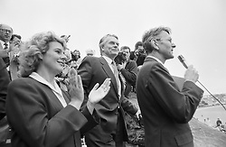 Applause for SDP leader Dr David Owen from fellow MP Rosie Barnes on the seafront at Scarborough, where he braved a bomb care to address his party.