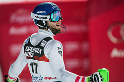 """Marco Schwarz (AUT)  during the 2nd Run of FIS Alpine Ski World Cup 2017/18 Men's Slalom race named """"Snow Queen Trophy 2018"""", on January 4, 2018 in Course Crveni Spust at Sljeme hill, Zagreb, Croatia. Photo by Vid Ponikvar / Sportida"""