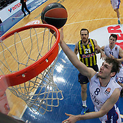 Anadolu Efes's Birkan Batuk (F) during their Turkish Airlines Euroleague Basketball Top 16 Round 14 match Fenerbahce Ulker between Anadolu Efes at the Ulker Sports Arena in Istanbul, Turkey, Thursday 09 April, 2015. Photo by Aykut AKICI/TURKPIX