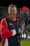 Ashley Giles with the Natwest t20 Trophy NatWest T20 Blast final match between Northants Steelbacks and Lancashire Lightning at Edgbaston, Birmingham, United Kingdom on 29 August 2015. Photo by David Vokes.