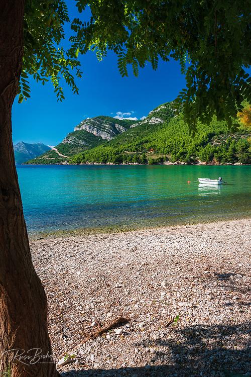 The blue Adriatic Sea at the village of Zuljana, Dalmatia, Croatia