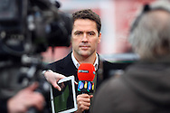 Michael Owen presenting for BT Sport. Barclays Premier league match, Stoke city v Manchester city at the Britannia Stadium in Stoke on Trent, Staffs on Saturday 5th December 2015.<br /> pic by Chris Stading, Andrew Orchard sports photography.