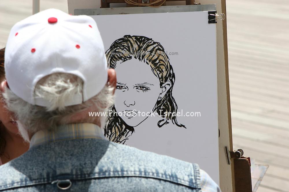 Caricature street artist