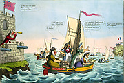 A New Catamaran Expedition' 1805. William Pitt the Younger, British Prime Minister, peers to where Napoleon's army waits for French ships to cross Channel to poorly defended England.  Napoleon thwarted by blocakde of French ships.