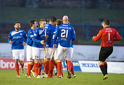 Cowdenbeath's Fraser Mullen (4) cele scoring their goal.  half time : Cowdenbeath 1 v 2 Forfar Athletic, Scottish Football League Division Two game played 17/12/2016 at Central Park.