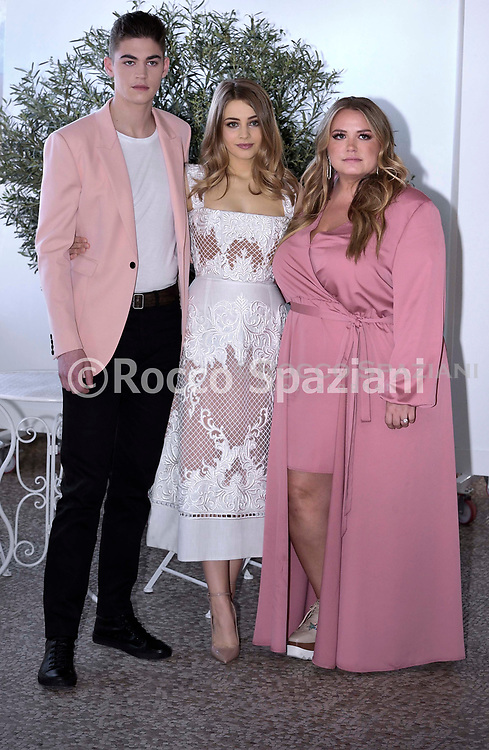 actor Hero Fiennes Tiffin  and Actress Josephine Langford , Author Anna Todd attend 'After Movie (After) photocall at the Rome Italy on March 31, 2019