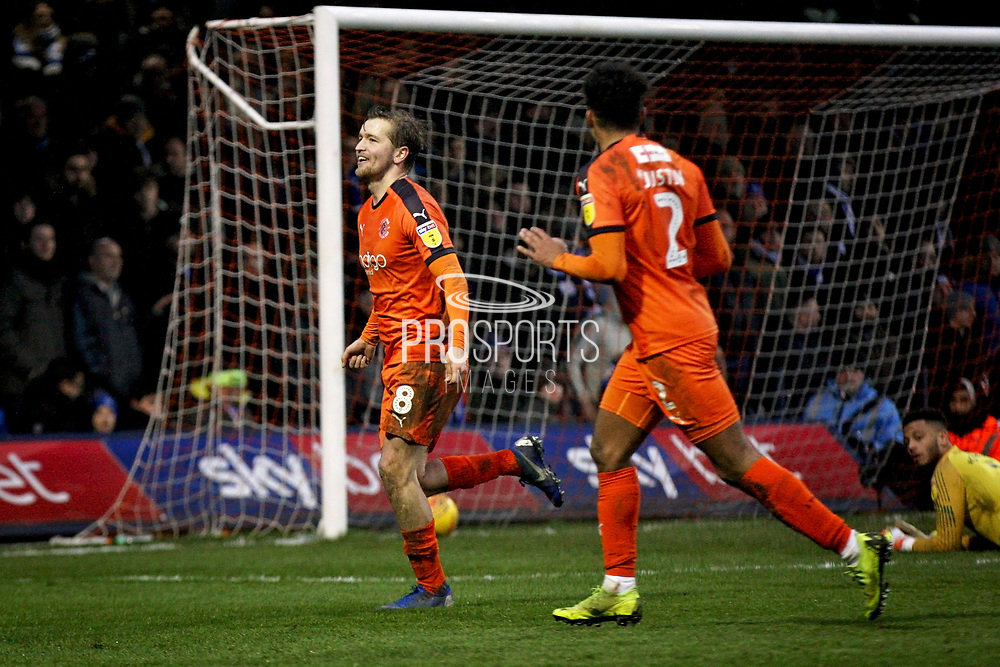 Luton Town midfielder Luke Berry (8) celebrates after making it 4-0 during the EFL Sky Bet League 1 match between Luton Town and Peterborough United at Kenilworth Road, Luton, England on 19 January 2019.