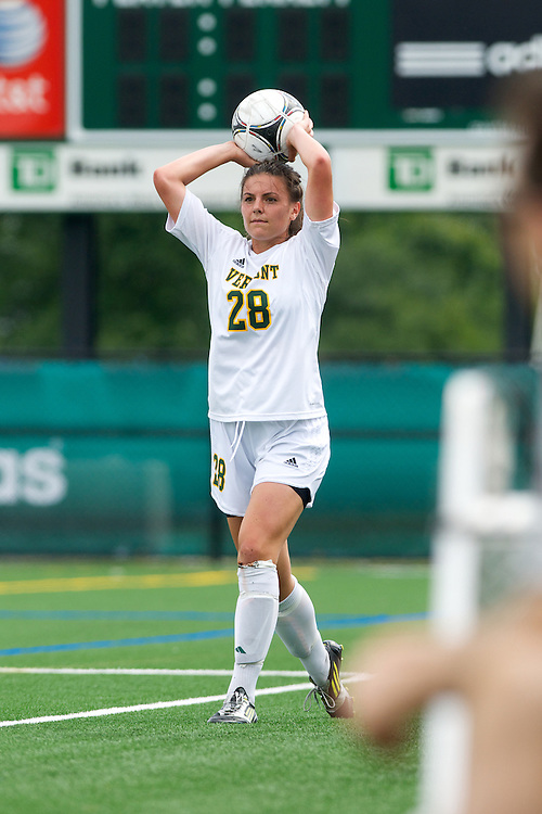Vermont defenseman Jill Dellipriscoli (28) throws the ball in bounds during the women's soccer game between the Brown Bears and the Vermont Catamounts at Virtue Field on Saturday afternoon September 8, 2012 in Burlington, Vermont.