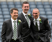15/03/15 SCOTTISH LEAGUE CUP FINAL<br /> DUNDEE UTD v CELTIC<br /> HAMPDEN - GLASGOW<br /> All smiles from Celtic manager Ronny Deila as he takes a look at the pitch with assistant John Collins (left) and captain Scott Brown (right)