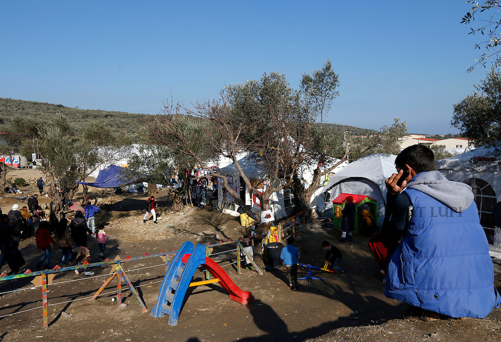 Migrants and refugees at Afghan Hill camp outside Moria,  on island of Lesbos, Greece. <br /> Photo: Darrin Zammit Lupi