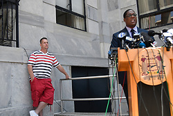 Andrew Wyatt, spokesperson for Bill Cosby gives a statement on the deadlocked jury, at a press conference outside the aggravated Indecent Assault trial of Cosby at Montgomery Counting Courthouse in Morristown, Pennsylvania, on June 15, 2017