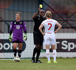 Kate Longhurst of Liverpool Ladies sees yellow from referee Samuel Allison - Mandatory by-line: Paul Knight/JMP - Mobile: 07966 386802 - 13/09/2015 -  FOOTBALL - Stoke Gifford Stadium - Bristol, England -  Bristol Academy Women v Liverpool Ladies FC - FA WSL Continental Tyres Cup