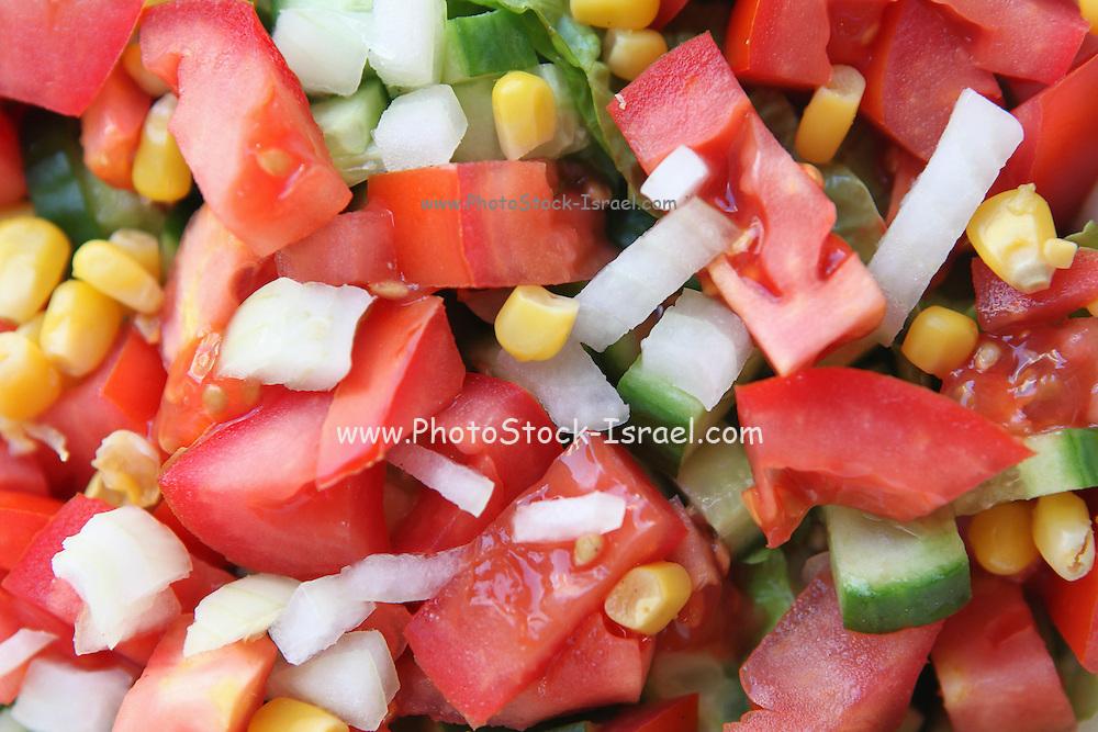 Fresh Israeli Salad with  tomato cucumber and corn