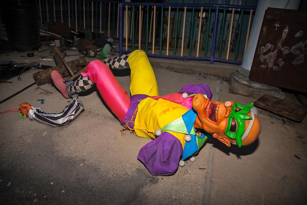 August, 24, 2008, Broken joker,at Six Flags Amusement Park in Eastern New Orleans, destroyed by Hurricane Katrina.