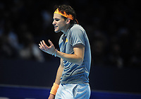 Tennis - 2019 Nitto ATP Finals at The O2 - Day Three<br /> <br /> Singles Group Bjorn Borg: Novak Djokovic (Serbia) vs.Domininic Thiem (Austria)<br /> <br /> Domininic Thiem argues with himself in the final set tie break<br /> <br /> COLORSPORT/ANDREW COWIE