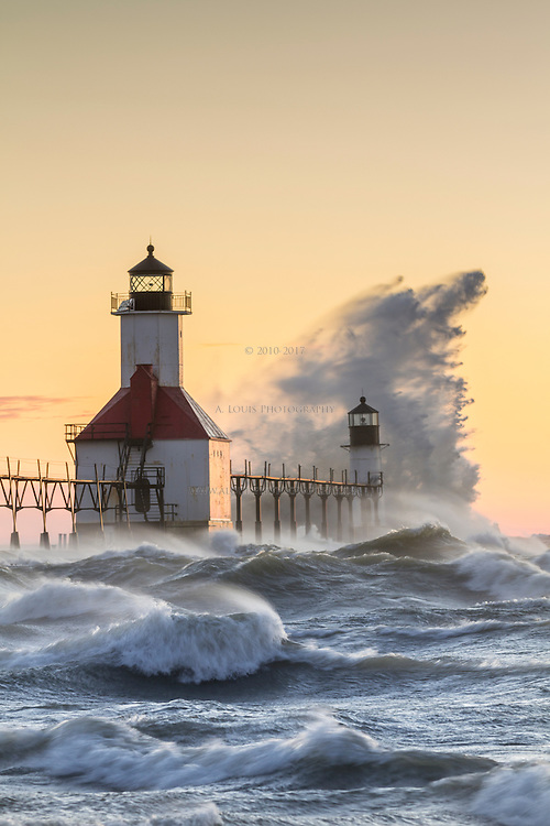 Heavy winds whipped Lake Michigan into a frenzy.  The resulting waves made for a spectacular display as they crashed into the St. Joseph, Mi pier and lighthouses.