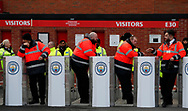 Stewards wait for the Manchester City fans to arrive during the Premier League match at Old Trafford, Manchester. Picture date: 8th March 2020. Picture credit should read: Darren Staples/Sportimage