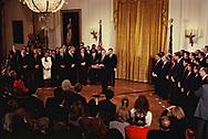 Washington, DC 1989/02/01 HW Bush , Bush 41, speaks at a swearing in ceremony for cabinet and senior staff.<br />Photo by Dennis Brack