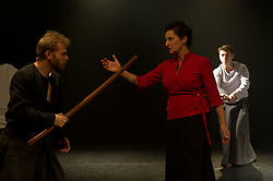 "© Copyright licensed to London News Pictures. 03/11/2010. Ian Morgan (MacDuff), Anna Zubrzycki (Lady MAcbeth), Kacper Kuszewski (Banquo).Song of the Goat Theatre present ""Macbeth"" as part of the bite 10 season at the Barbican, London."