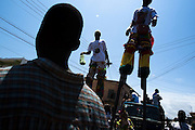 Men on stilts walk through the crowd  during the parade held on the occasion of the annual Oguaa Fetu Afahye Festival in Cape Coast, Ghana on Saturday September 6, 2008.