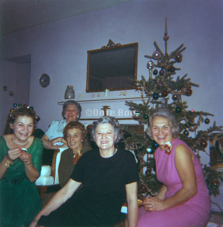 old color photo of family gathering during Christmas time 1965