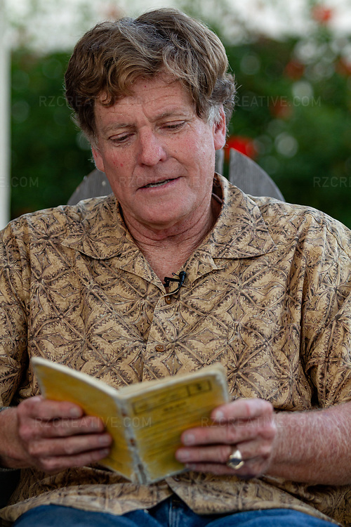 Portrait of paddler Ed Gillet as he reads from the journal he kept during a 64 day, 2,200 mile sea kayak crossing from Monterey, CA to Maui, HI in 1987. Photo © Robert Zaleski / rzcreative.com<br /> —<br /> To license this image contact: robert@rzcreative.com