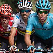 12-09-2019: Ronde van Spanje: Colmenar Viejo: Becerril de la Sierra Alejandro Valverde, Angel Miguel Lopez, Astana Pro team, Jumbo Visma team, Movistar team, Primoz Roglic, red jersey. worldchampion, stage 18, Vuelta a Espana 2019