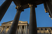 Exterior of the Bank of England and the Corinthian columns of Royal Exchange on Threadneedle Street in the Square Mile, the capitals financial district, on 13th November 2017, in the City of London, England. The Bank of England, is the central bank of the United Kingdom and the model on which most modern central banks have been based. Established in 1694, it is the second oldest central bank in the world. Sir Herbert Bakers rebuilding of the Bank, demolishing most of Sir John Soanes earlier building, was described by architectural historian Nikolaus Pevsner as the greatest architectural crime, in the City of London, of the twentieth century.