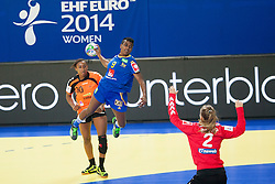 10-12-2014 CRO: EHF EK Nederland - Zweden, Varazdin<br /> Jurswailly Luciano #30 of Netherlands and Louise Sand #9 of Sweden during handball match between Netherlands and Sweden at 11th EHF European Women's Handball Championship Hungary-Croatia 2014<br /> *** USE NETHERLANDS ONLY ***