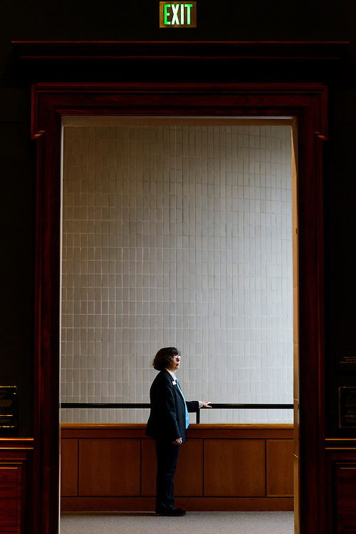 Photo by Matt Roth<br /> Assignment ID: 10139164A<br /> <br /> Linda Smith, photographed on Thursday, February 28, 2013, is a painter with an M.F.A. from Vermont College of Fine Arts, and works as a guard at the Baltimore Museum of Art.