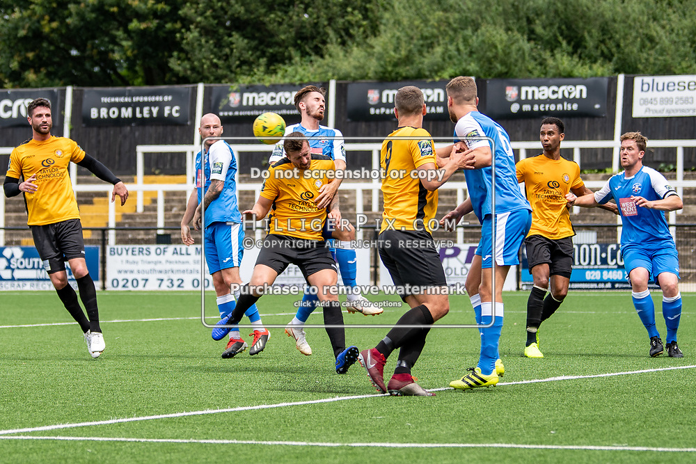 BROMLEY, UK - JULY 13: Tom Phipp, of Cray Wanderers FC, is closely marked going for the header during the Pre-season friendly match between Cray Wanderers FC and Tonbridge Angels FC at Hayes Lane on July 13, 2019 in Bromley, UK. <br /> (Photo: Jon Hilliger)