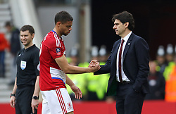 Middlesbrough's Rudy Gestede shakes hands with manager Aitor Karanka as he leaves the pitch with an injury