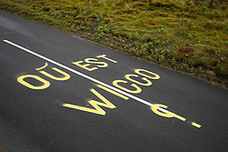 Graffiti questioning the absence of Sir Bradley Wiggins from the team Sky line up is seen on the road on Buttertubs Pass, part of Stage 1 in the Yorkshire Dales - Photo mandatory by-line: Rogan Thomson/JMP - 07966 386802 - 04/07/2014 - SPORT - CYCLING - Yorkshire - Le Tour de France Grand Depart Previews.