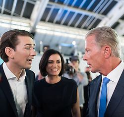 "01.07.2017, Design Center, Linz, AUT, ÖVP, 38. ordentlicher Bundesparteitag, mit Wahl von Bundesminister Kurz zum neuen Bundesparteiobmann, unter dem Motto ""Zeit für Neues - Zusammen neue Wege gehen"". im Bild v.l.n.r. Außenminister und designierter ÖVP-Chef Sebastian Kurz, ÖVP-Generalsekretärin Elisabeth Köstinger und ehemaliger Parteiobmann Reinhold Mitterlehner // f.l.t.r. Austrian Foreign Minister Sebastian Kurz, Secretary General of the Austrian Peoples Party Elisabeth Koestinger and former vice chancellor of austria Reinhold Mitterlehner during political convention of the Austrian People' s Party with election of Sebastian Kurz as the new party leader at Design Centre in Linz, Austria on 2017/07/01. EXPA Pictures © 2017, PhotoCredit: EXPA/ Michael Gruber"
