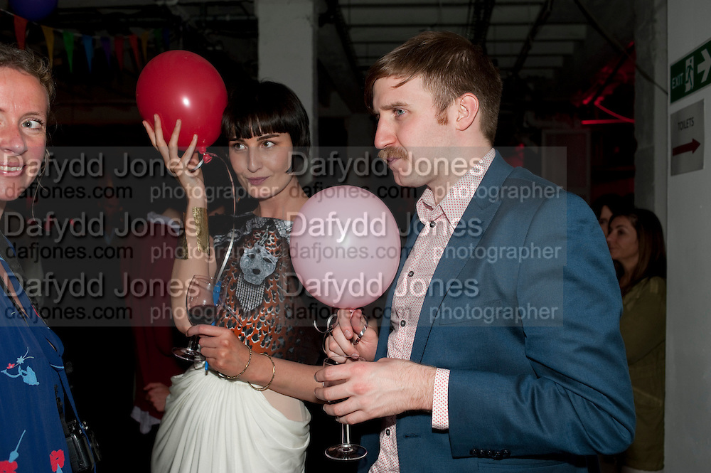 JENNY DYSON; ERIN O'CONNOR; CHRIS LEVIN, Tunnel of Love. Funfair party The Mending Broken Hearts appeal In aid of the British Heart Foundation. Victoria House, Bloomsbury. London. 17 May 2011. <br /> <br />  , -DO NOT ARCHIVE-© Copyright Photograph by Dafydd Jones. 248 Clapham Rd. London SW9 0PZ. Tel 0207 820 0771. www.dafjones.com.