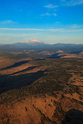USA, Oregon, Madras, looking east to Mt. Jefferson from a light plane.